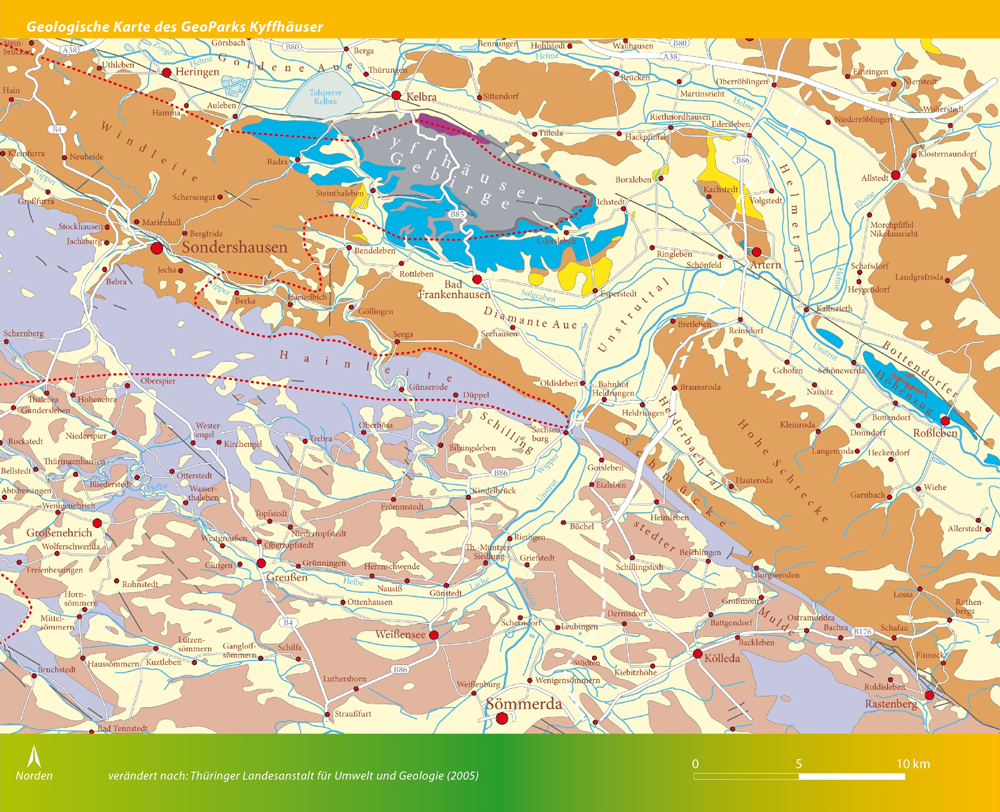 Geologische Karte Thüringen.Gesteinskarte Geopark Kyffhäuser E V Der Natur Auf Der Spur